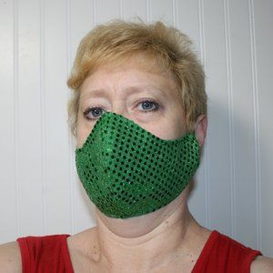 HANDMADE Green Sequin Fabric Face Mask Shie…